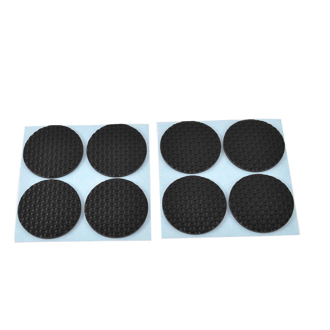 Home Nonslip Round Shaped Furniture Feet Protection Pad Cushion Mat Black 8pcs
