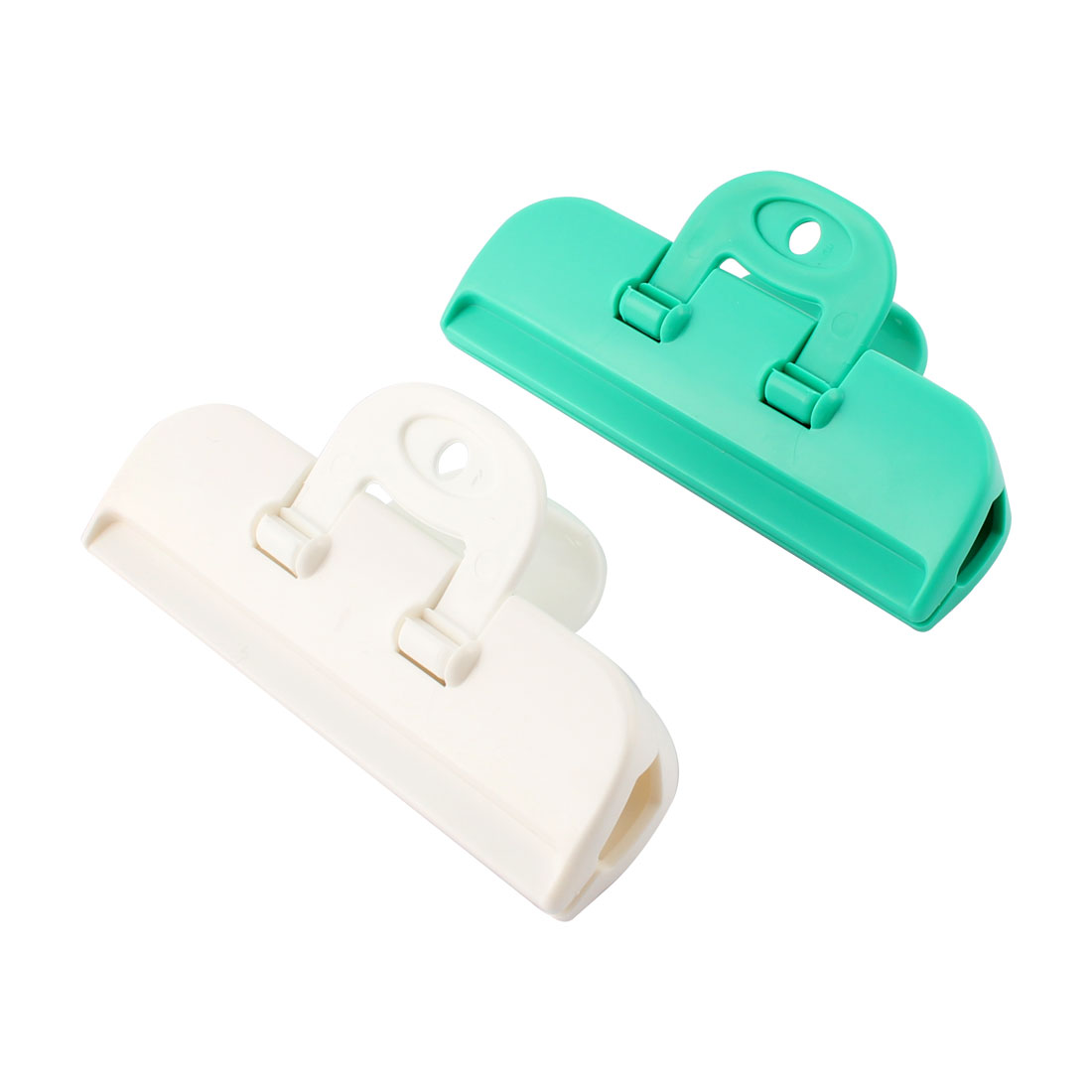 Food Storage Plastic Pocket Bag Sealing Clips Clamps Green White 2 pcs