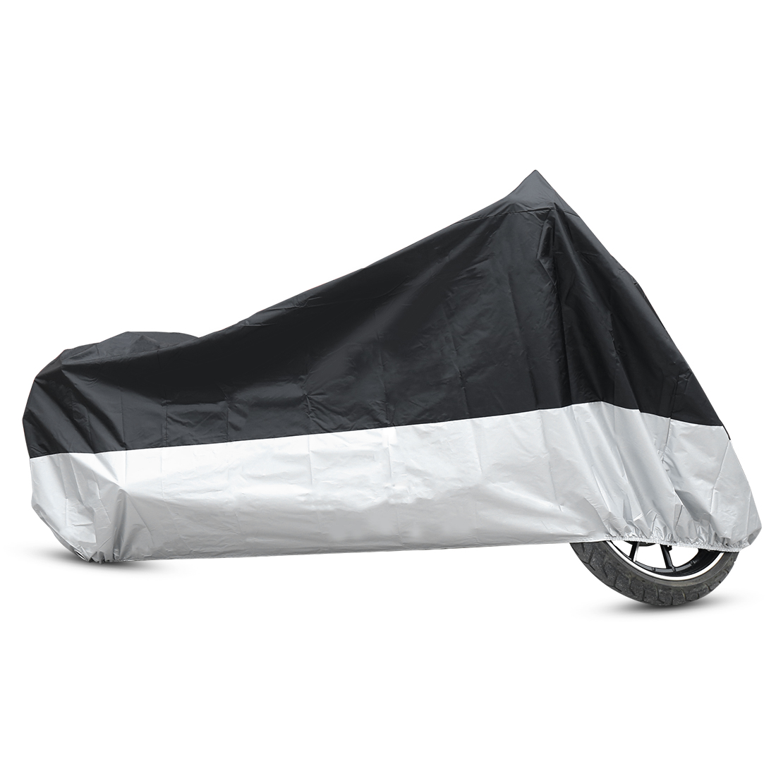 L 180T Rain Dust Motorcycle Cover Black+Silver Outdoor Waterproof UV Protector