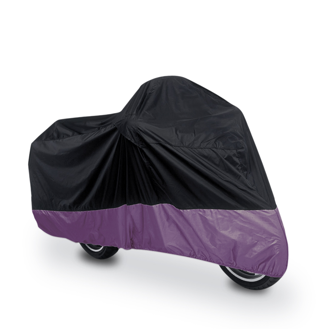 L 180T Rain Dust Motorcycle Cover Black+Purple Outdoor Waterproof UV Protector