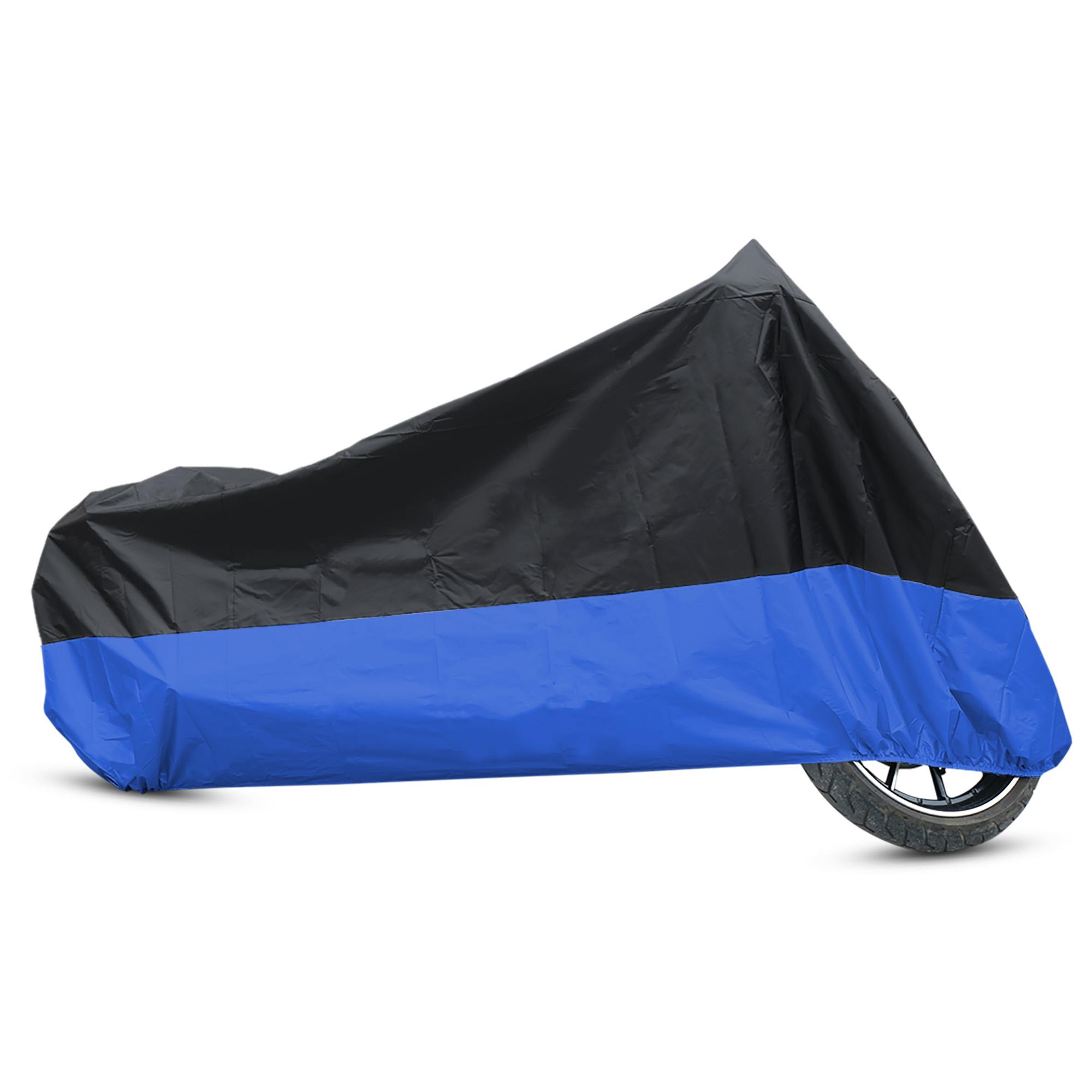 L 180T Rain Dust Motorcycle Cover Black+Blue Outdoor Waterproof UV Protector