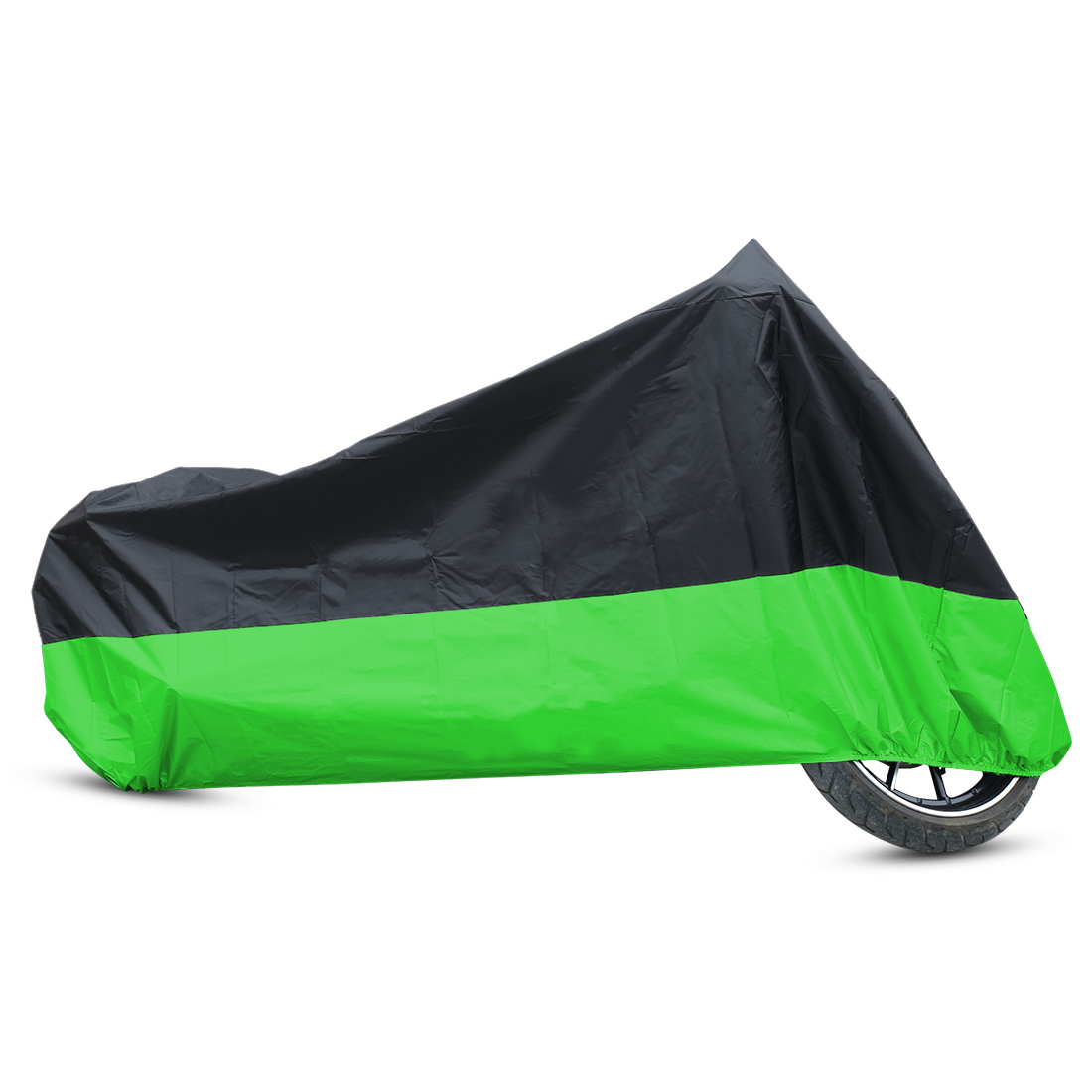 L 180T Rain Dust Motorcycle Cover Black+Green Outdoor Waterproof UV Protector