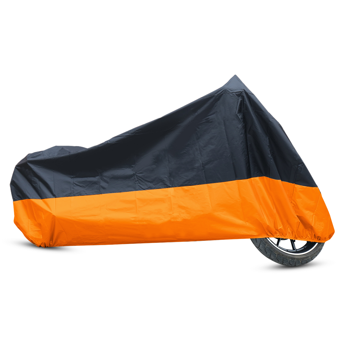 L 180T Rain Dust Motorcycle Cover Black+Orange Outdoor Waterproof UV Protector