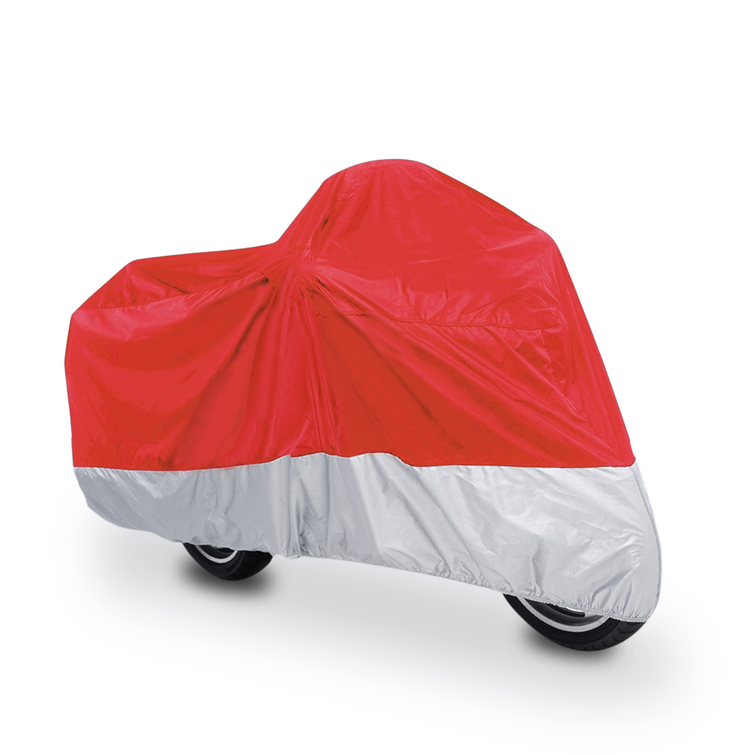 L 180T Rain Dust Motorcycle Cover Red+Silver Outdoor Waterproof UV Protector