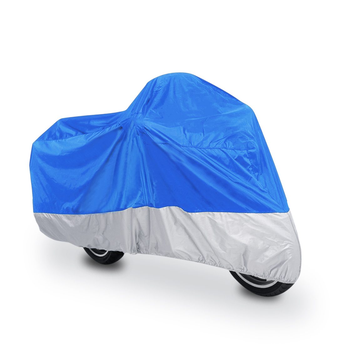 L 180T Rain Dust Motorcycle Cover Blue+Silver Outdoor Waterproof UV Protector