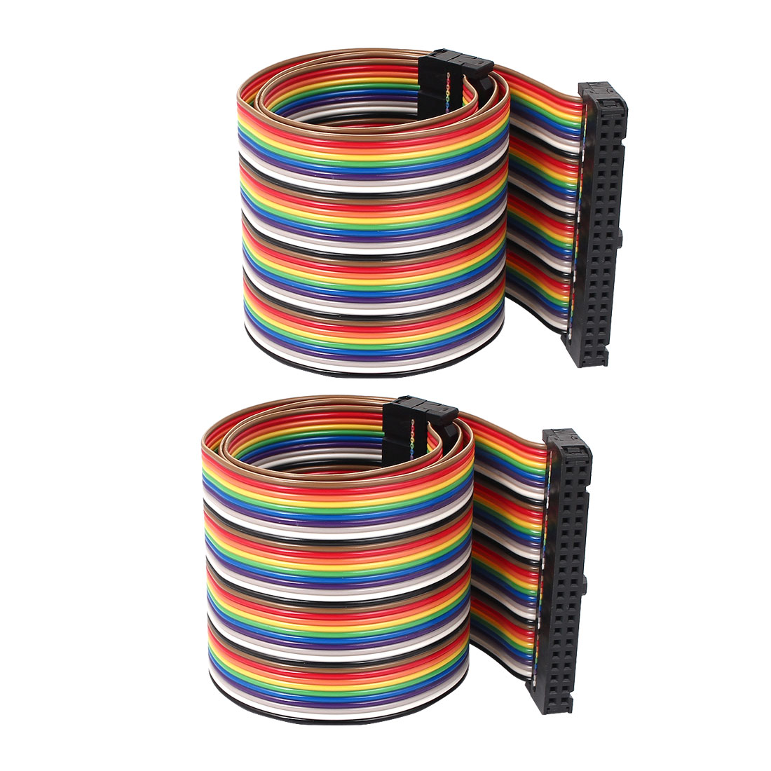 50cm 40 Pin 40 Way F/F Connector IDC Flat Rainbow Color Ribbon Cable for DIY 2pcs