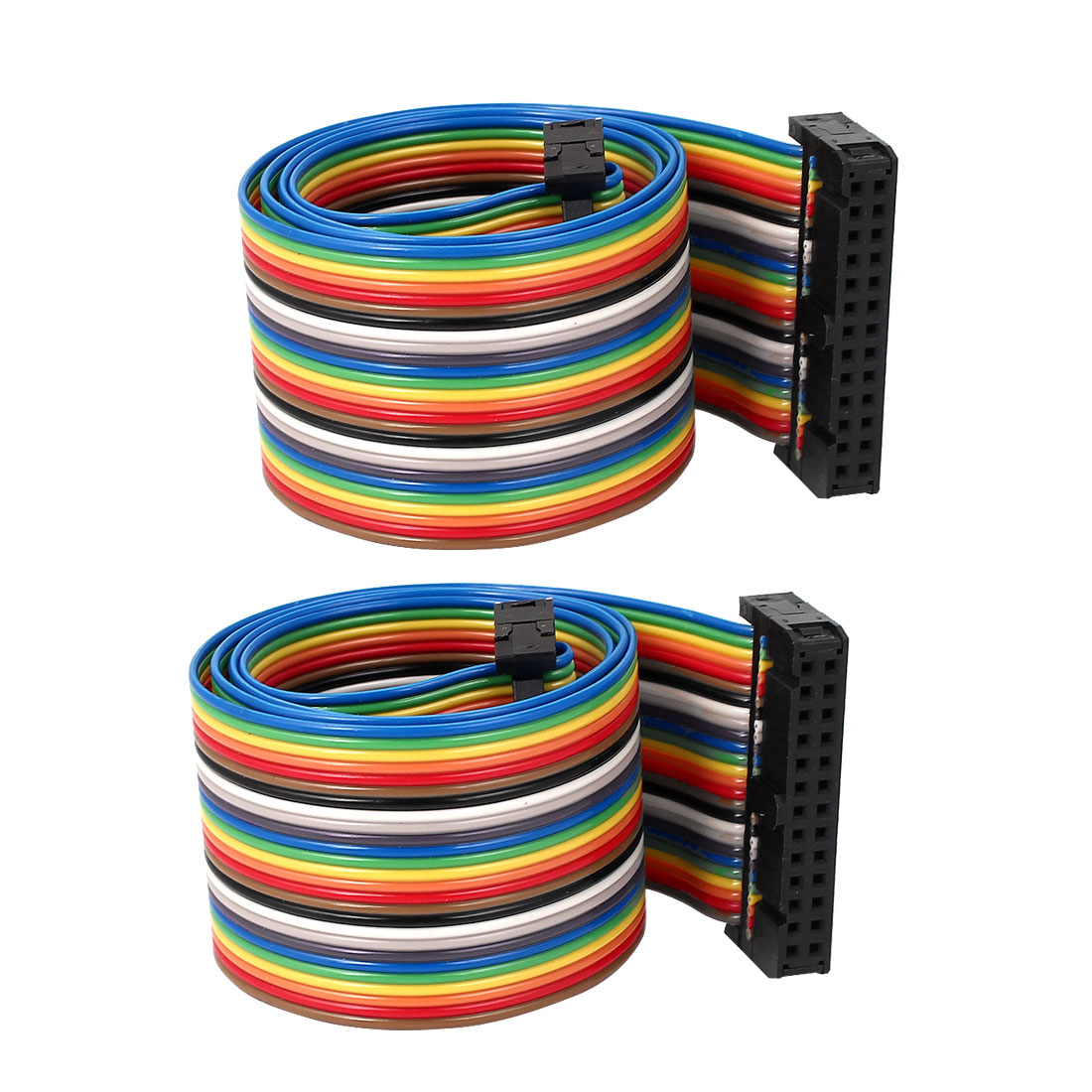 50cm 26 Pin 26 Way F/F Connector IDC Flat Rainbow Color Ribbon Cable for DIY 2pcs