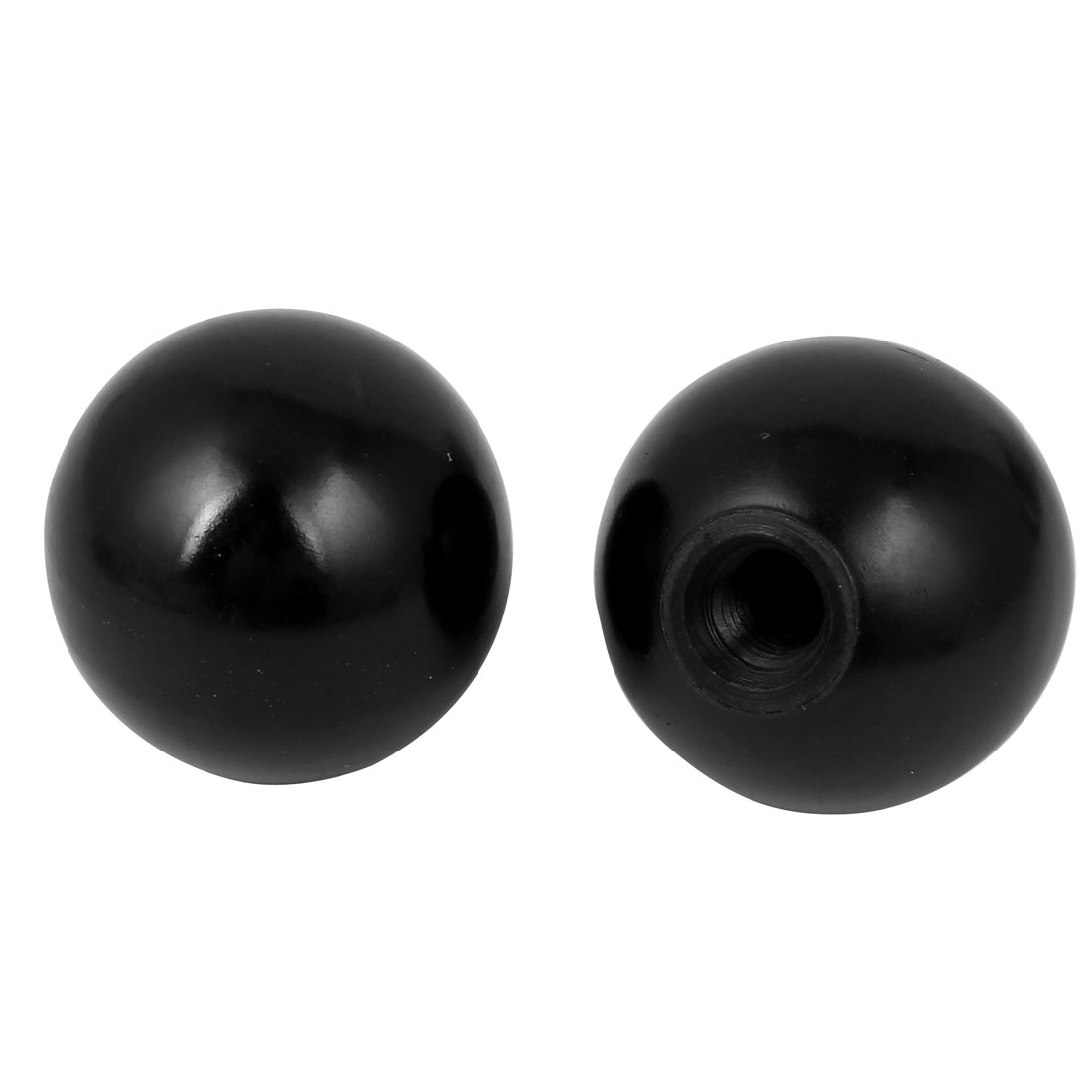 Black Plastic Round 50mm Diameter 12mm Threaded Ball Lever Knob 2 Pcs