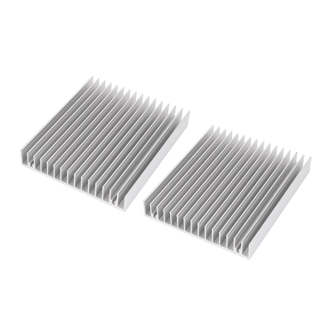 2 Pcs Aluminum Heat Sink DIY 120x100x18mm CPU HeatSink Cooling Fin Silver Tone