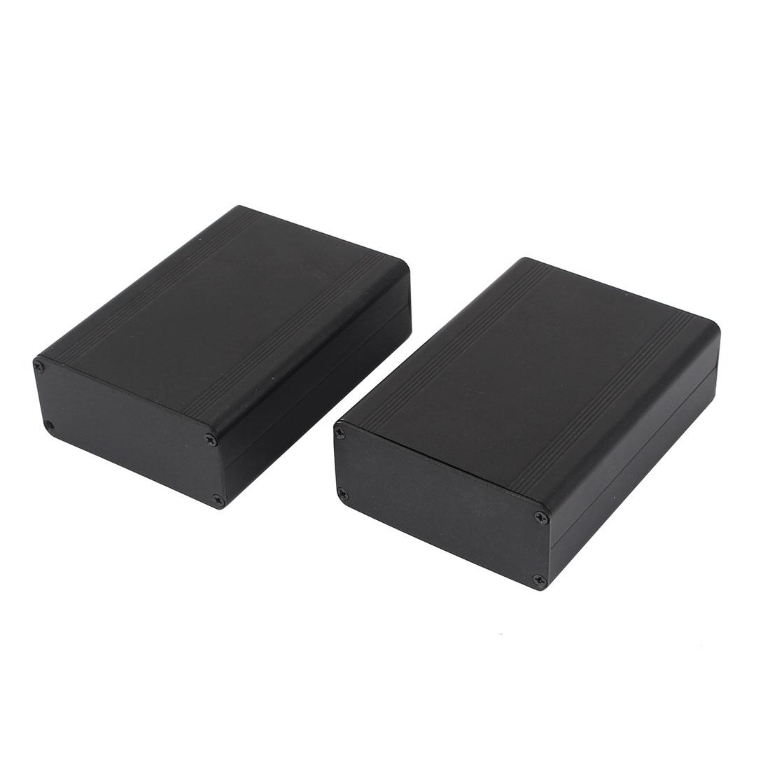 2 Pcs Black Plastic Sealed Electronic Switch Case Junction Box 124mmx88mmx38mm