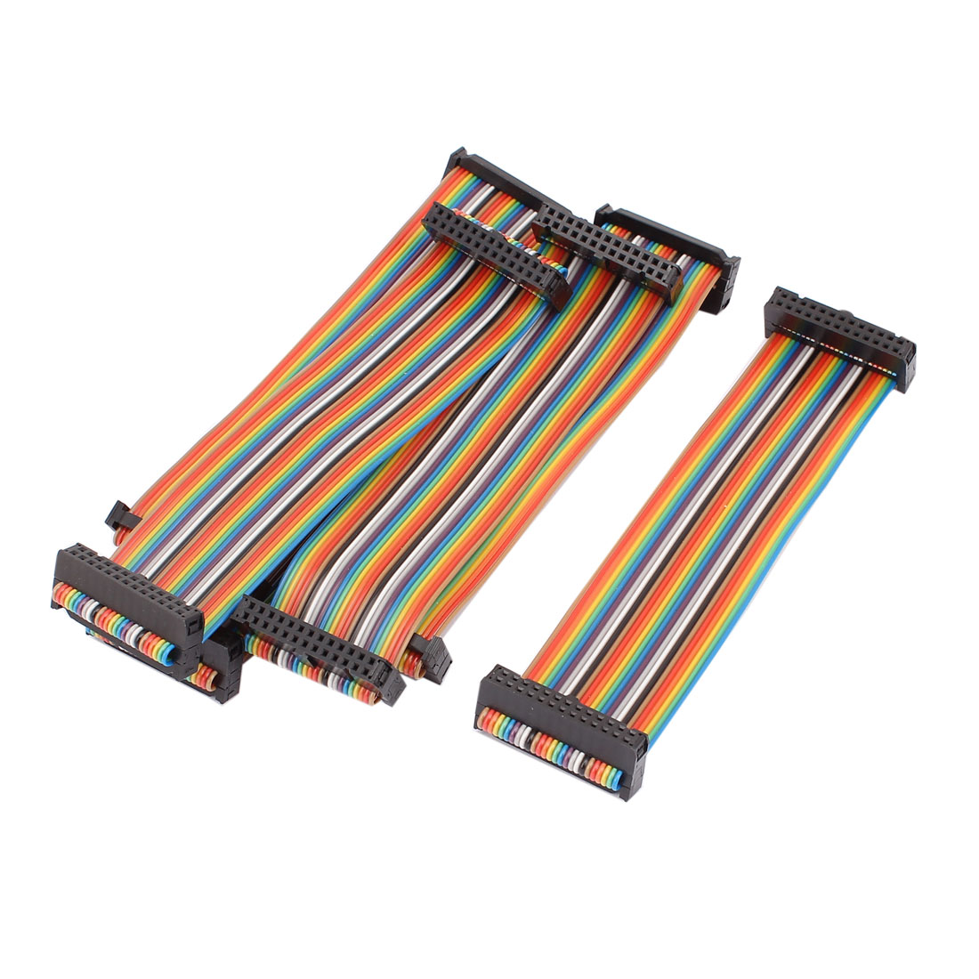 6PCS 2.54mm Pitch 26 Pin 26 Way F/F Rainbow IDC Flat Ribbon Cable Connector 15CM