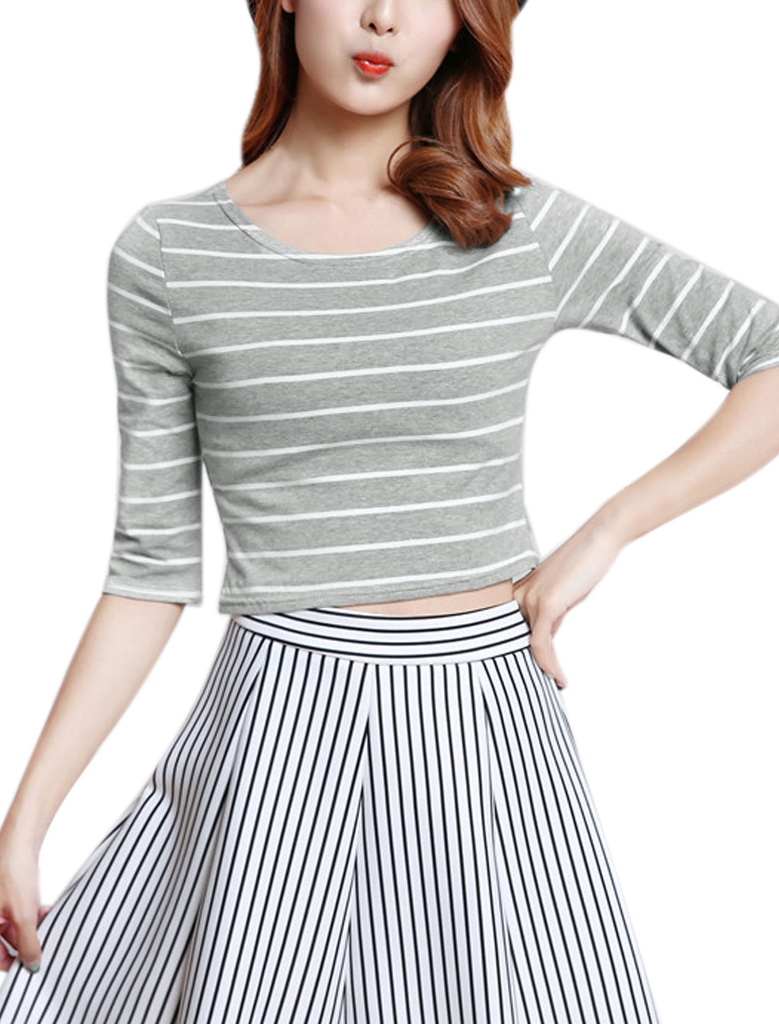 Women Round Neck Half Sleeves Stripes Slim Fit Crop Top Gray S