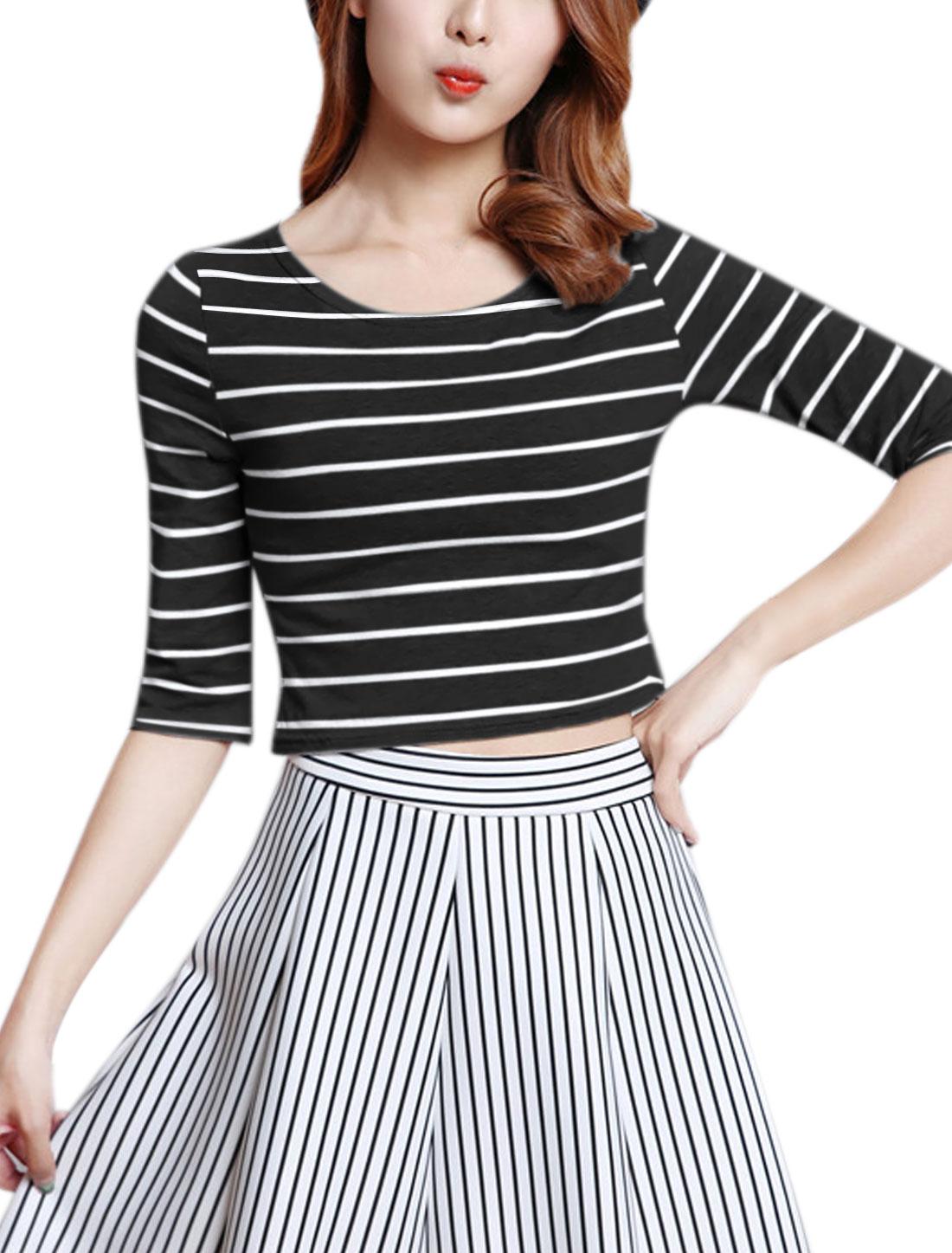 Women Round Neck Half Sleeves Stripes Slim Fit Crop Top Black S