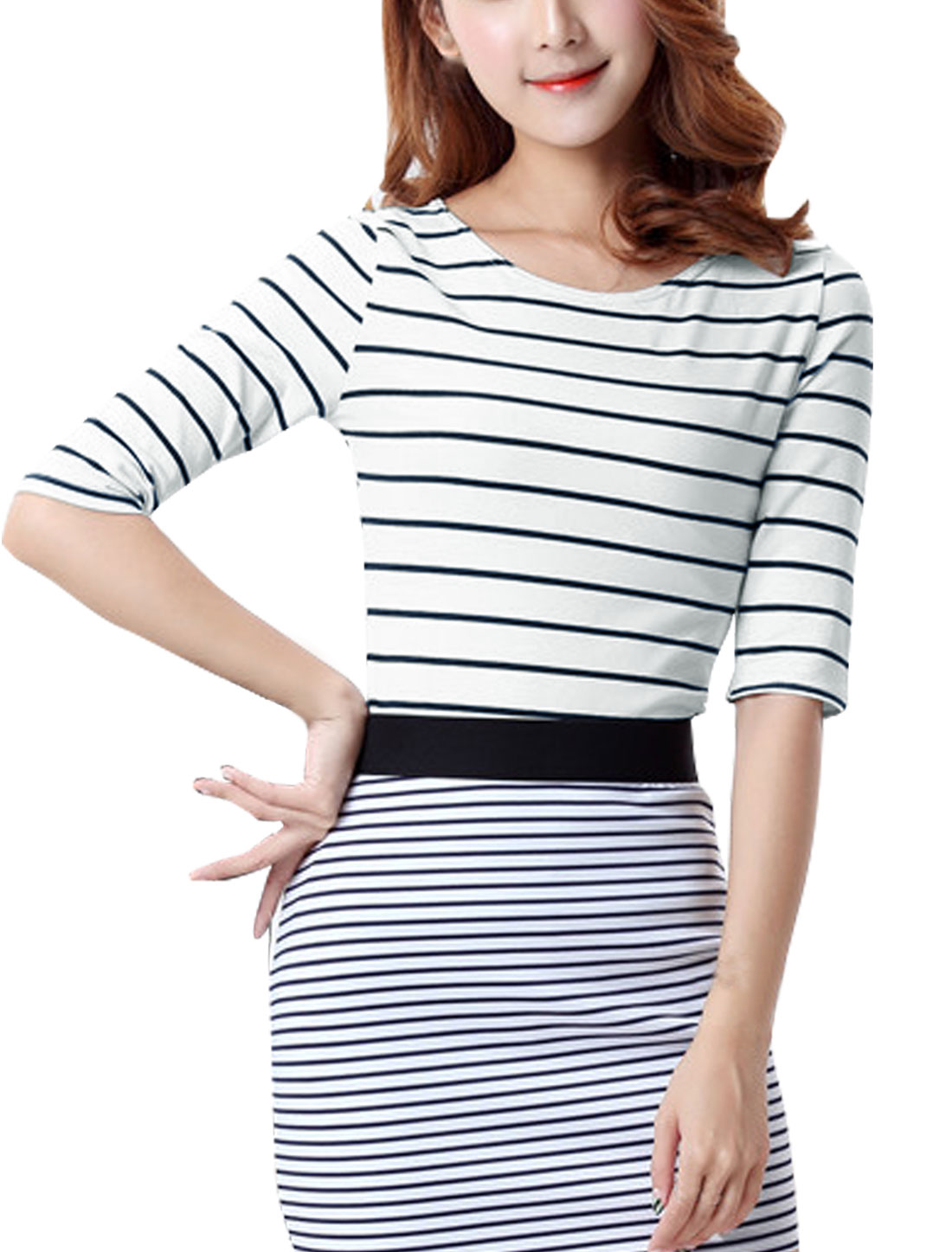 Women Elbow Sleeves Round Neck Slim Fit Stripe T-Shirt White S
