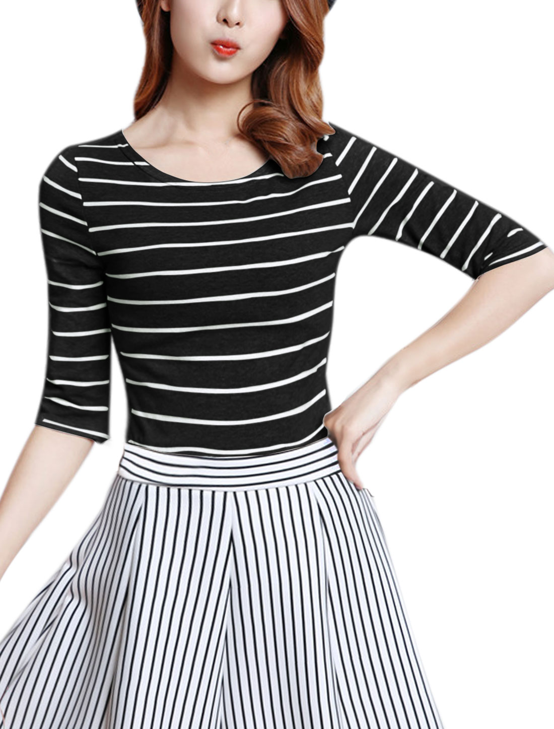 Women Elbow Sleeves Round Neck Slim Fit Stripe T-Shirt Black S