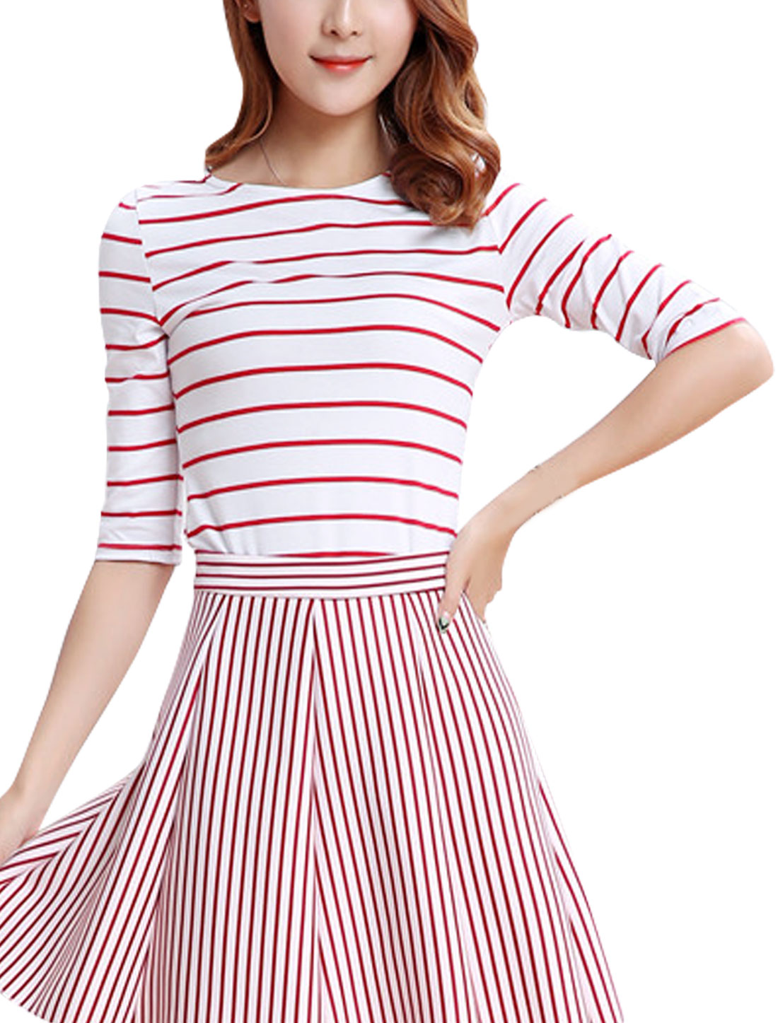 Women Elbow Sleeves Round Neck Slim Fit Stripe T-Shirt Red S