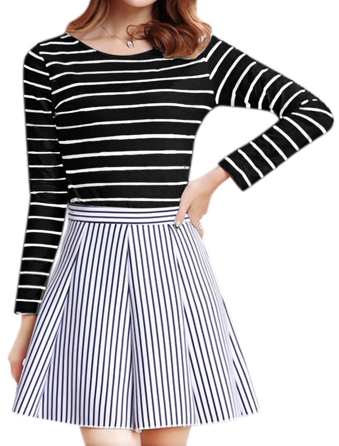 Women Long Sleeves Round Neck Slim Fit Stripes Tee Shirt Black S