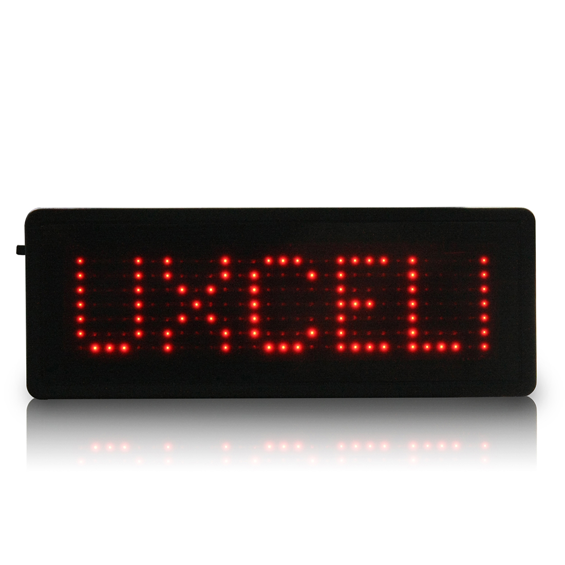 LED Badge Digital Scrolling Message Sign Card Label Portable Name Tag Display Red