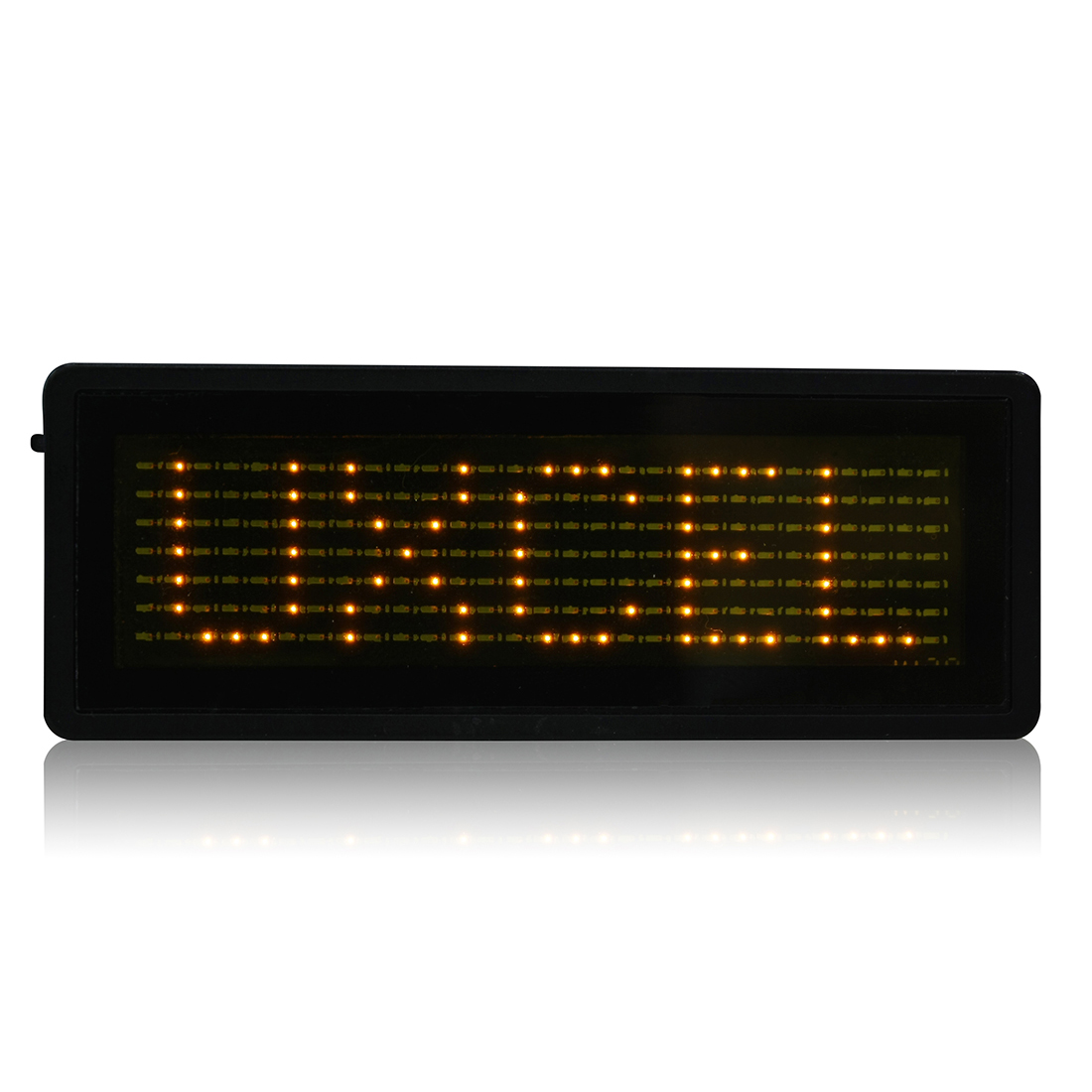 LED Badge Digital Scrolling Message Sign Card Label Portable Name Tag Display Yellow