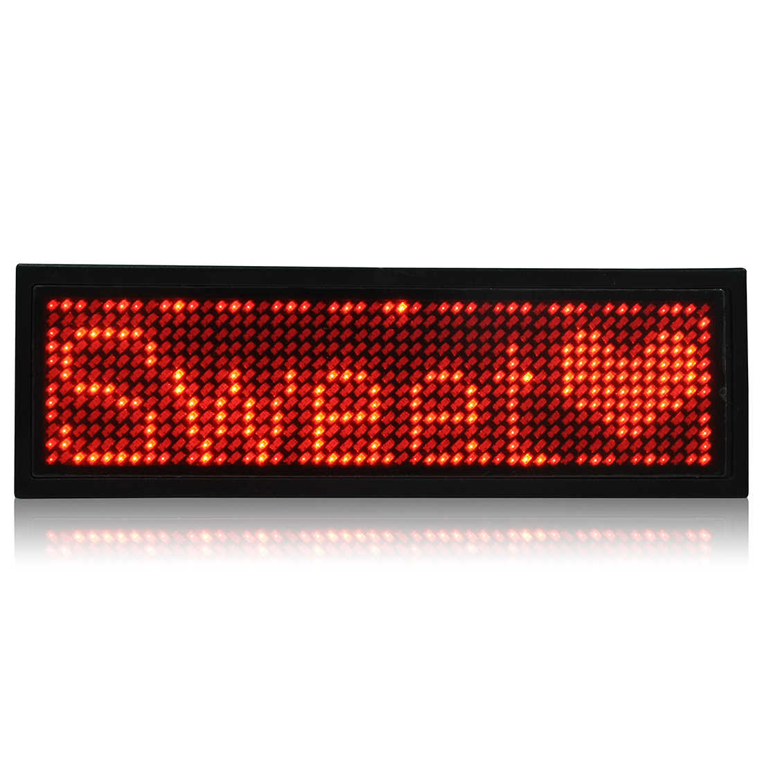 LED Badge Digital Scrolling Message Name Tag Display Portable Rechargeable UK plug Red