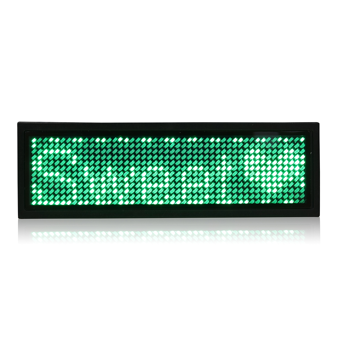 LED Badge Digital Scrolling Message Name Tag Display Portable Rechargeable UK plug Green