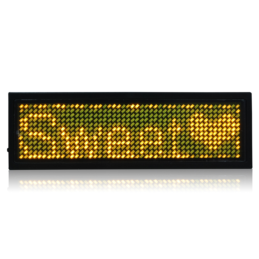 LED Badge Digital Scrolling Message Name Tag Display Portable Rechargeable UK plug Yellow