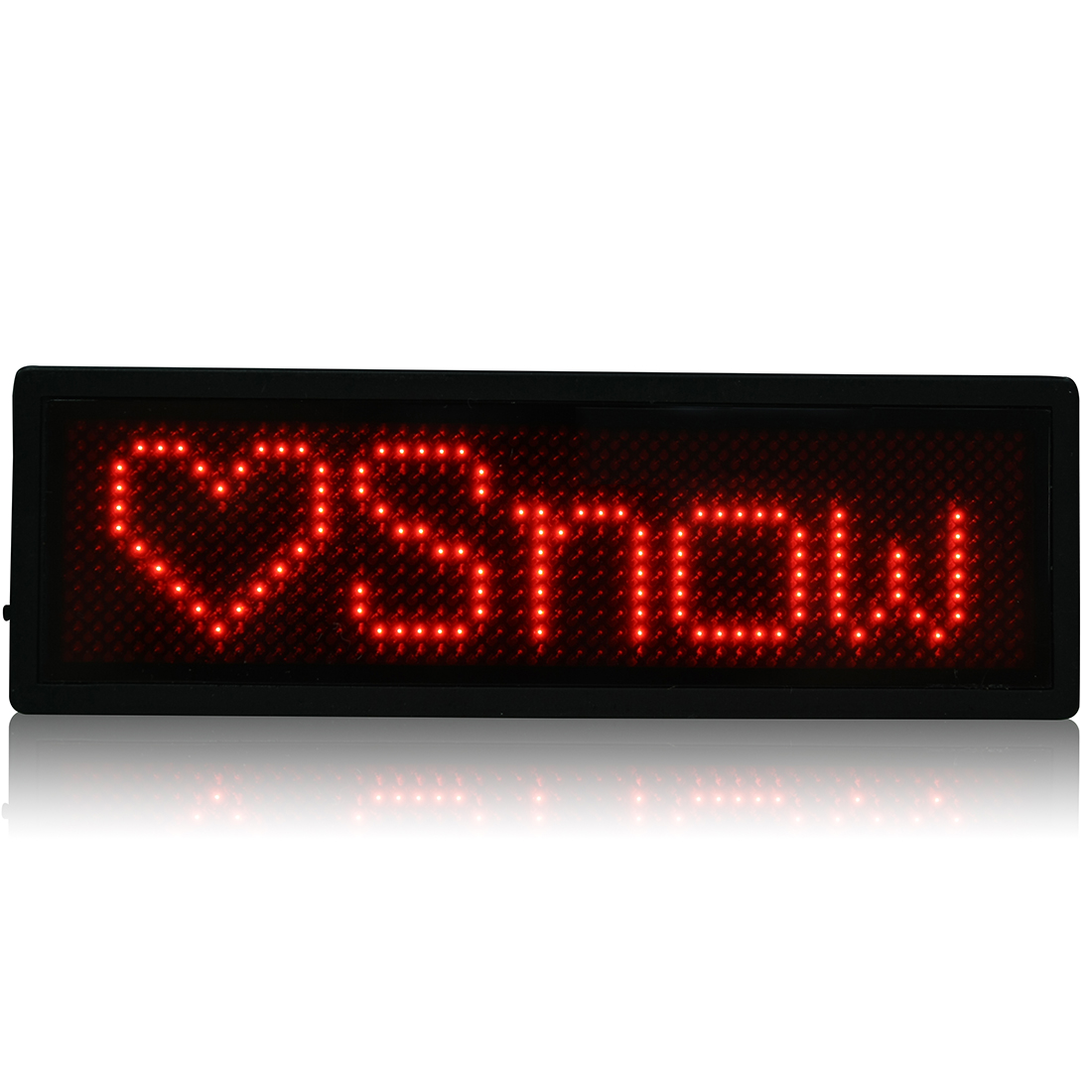 LED Badge Digital Scrolling Message Name Sign Display Rechargeable UK plug Red