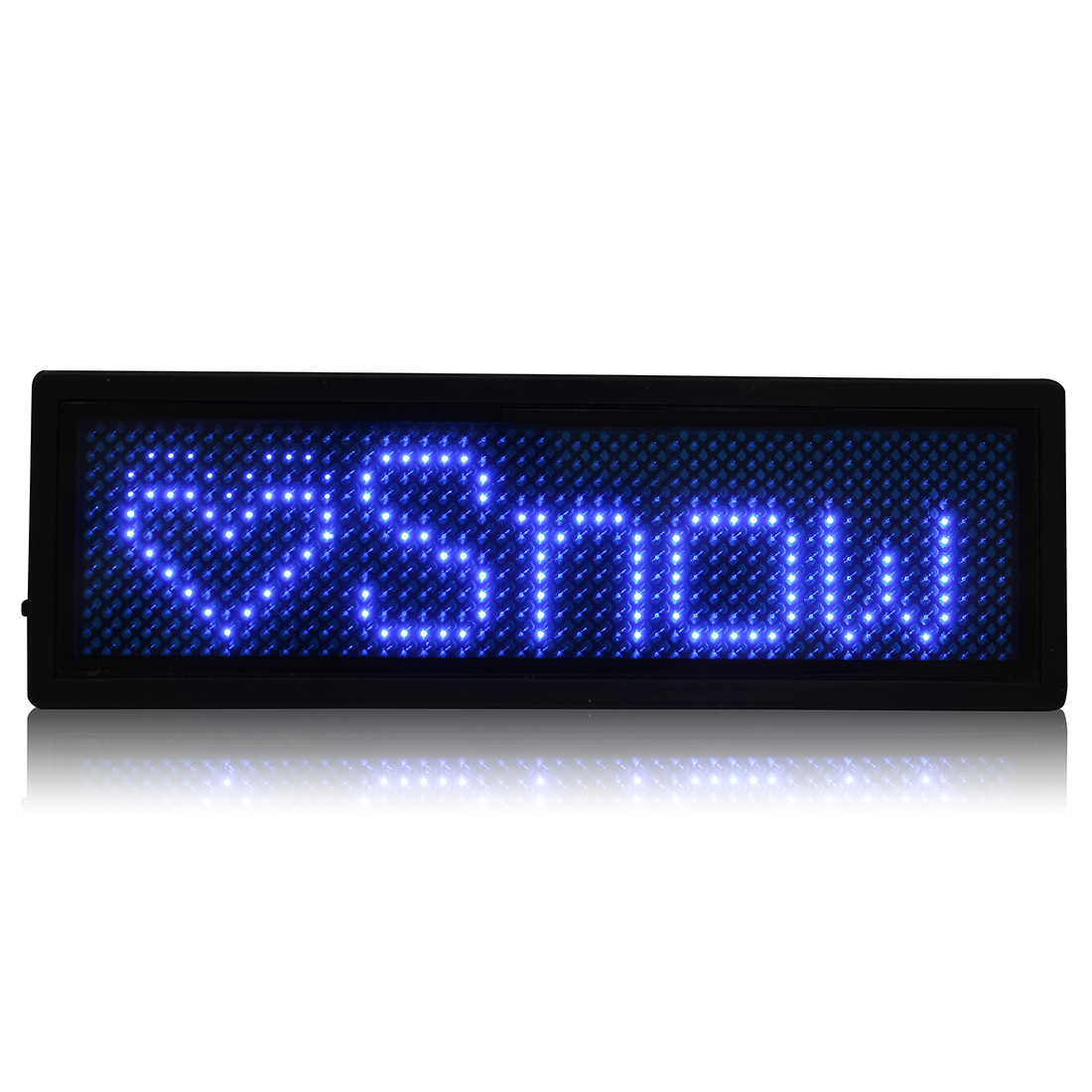 LED Badge Digital Scrolling Message Name Sign Display Portable Rechargeable UK plug Blue