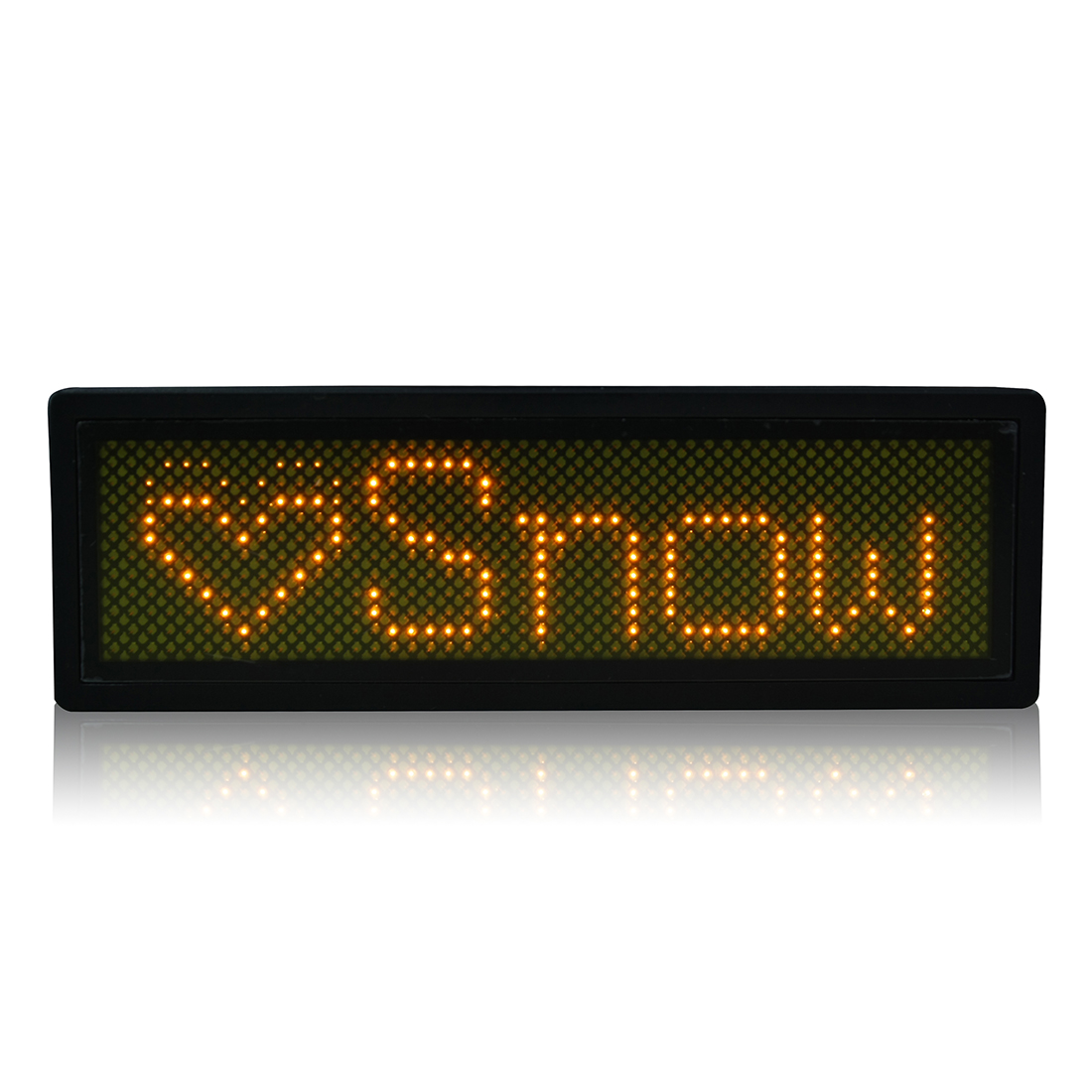 LED Badge Digital Scrolling Message Name Sign Display Portable Rechargeable UK plug Yellow