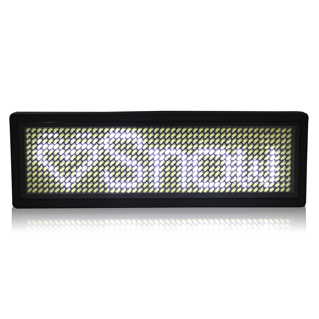 LED Badge Digital Scrolling Message Name Sign Display Portable Rechargeable UK plug White