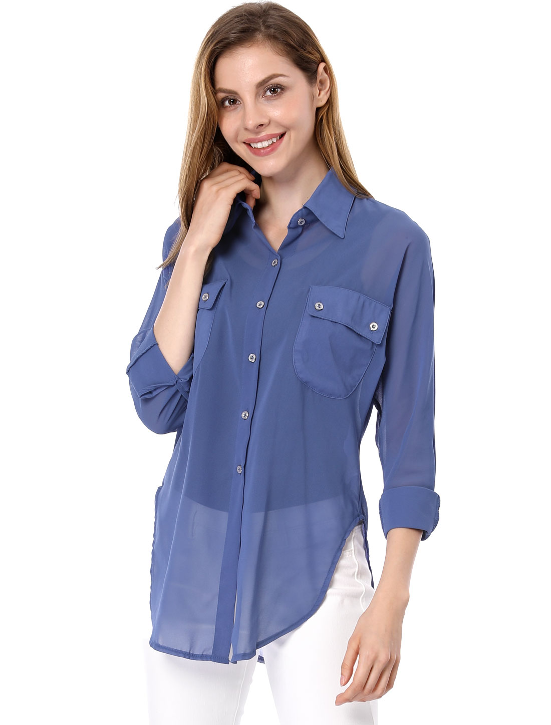 Women Dolman Sleeve Side-Slit Chiffon Long Shirt Blue XS