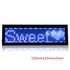 LED Badge Digital Scrolling Message Name Tag Display Portable Rechargeable UK plug Blue