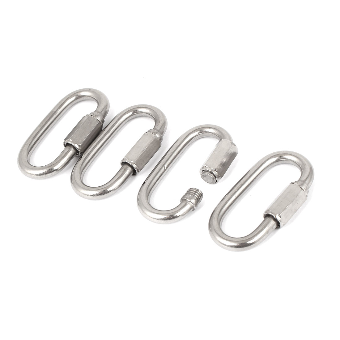 6mm Thickness 304 Stainless Steel Quick Oval Link Lock Carabiner 4 Pcs