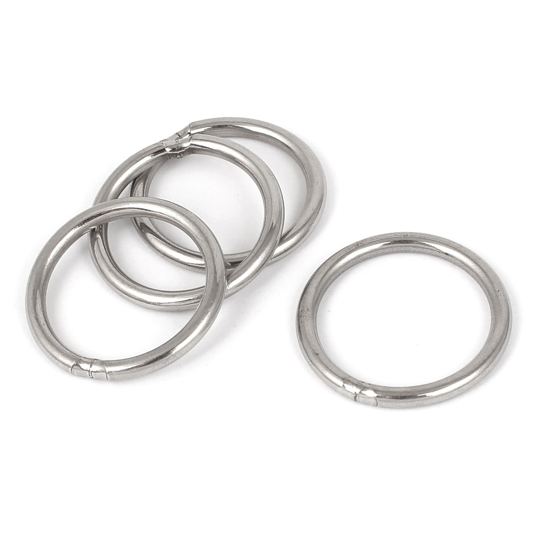 M3 x 30mm 201 Stainless Steel Strapping Welded Round O Rings 4 Pcs