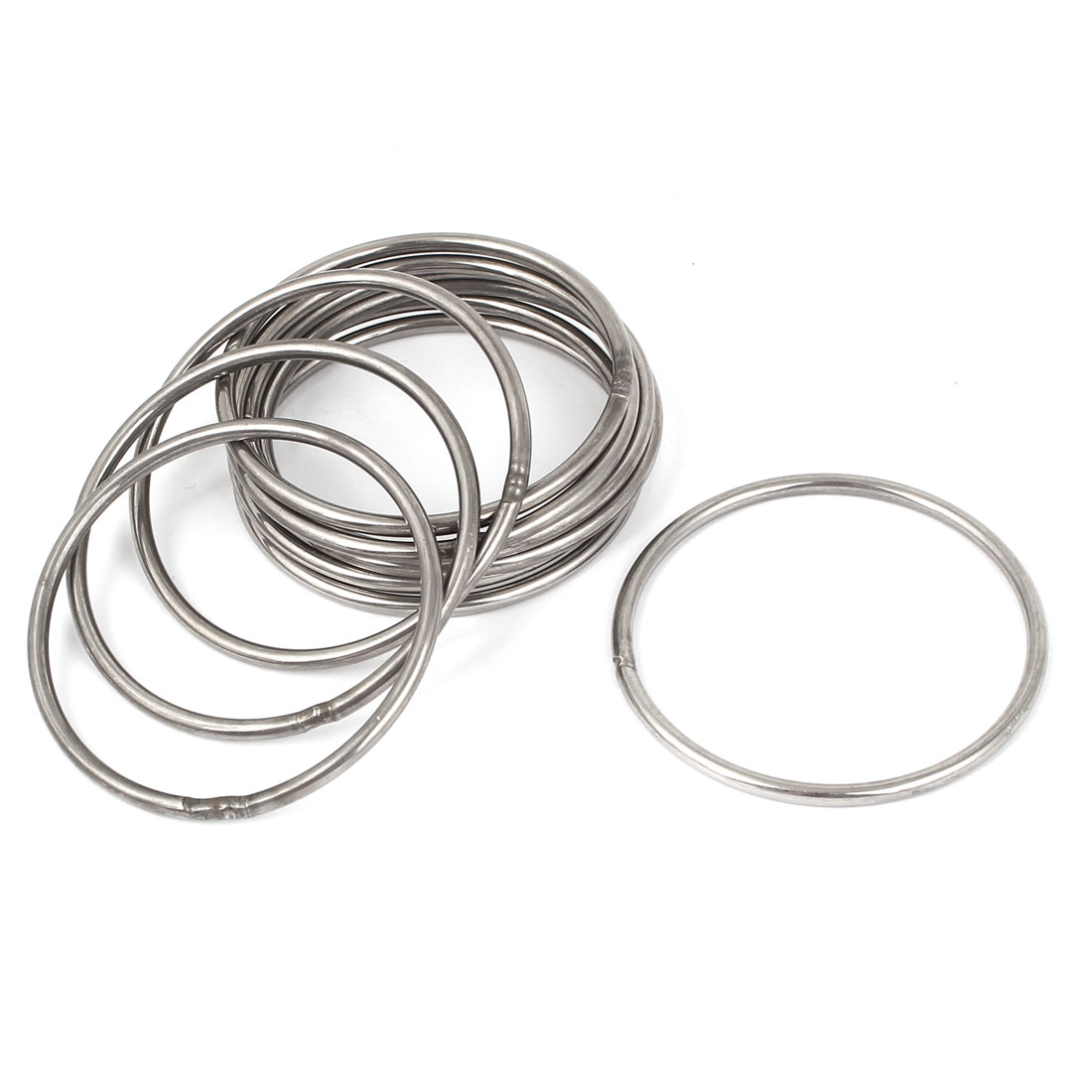 M3 x 60mm 201 Stainless Steel Webbing Strapping Welded Round O Rings 10 Pcs