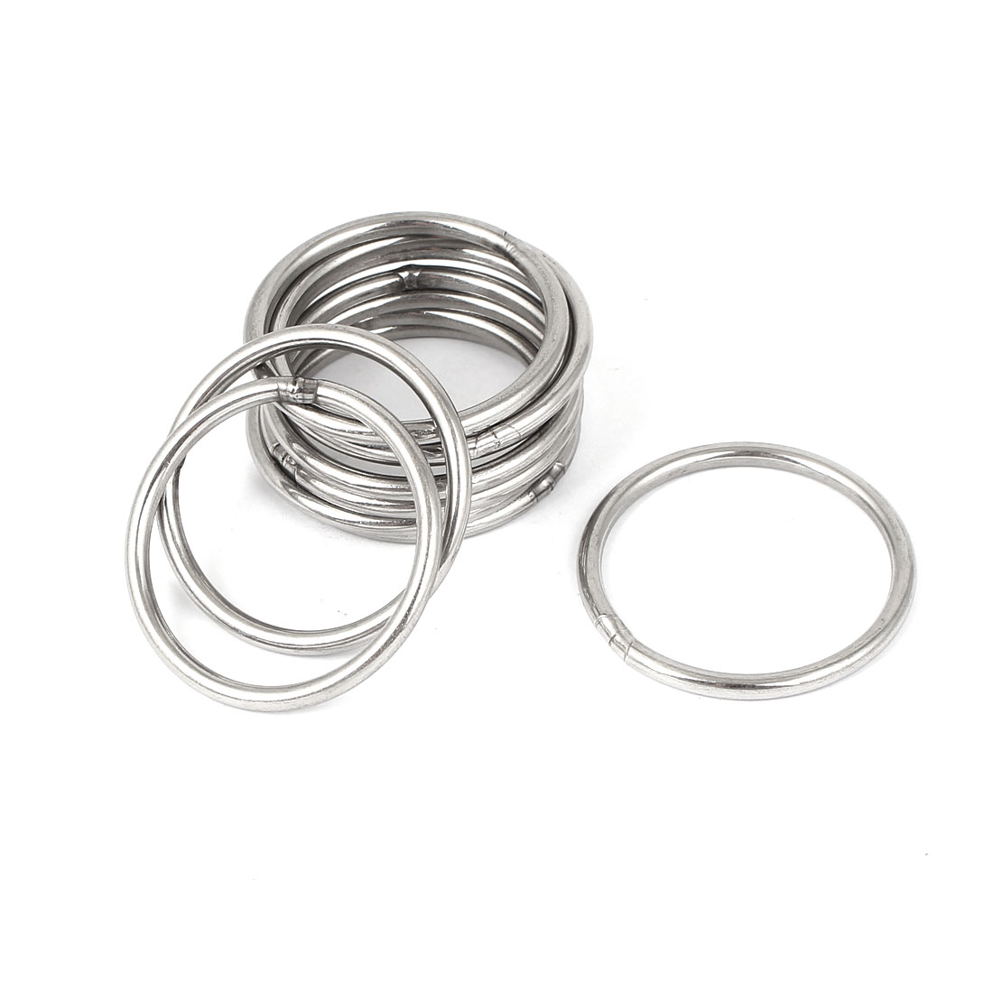 M3 x 40mm 201 Stainless Steel Webbing Strapping Welded O Rings 10 Pcs