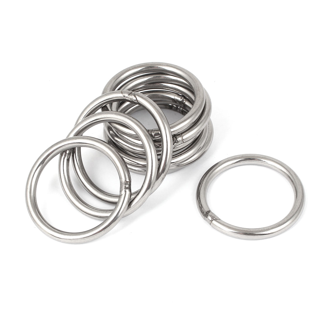 M5 x 50mm 201 Stainless Steel Webbing Strapping Welded Round O Rings 10 Pcs