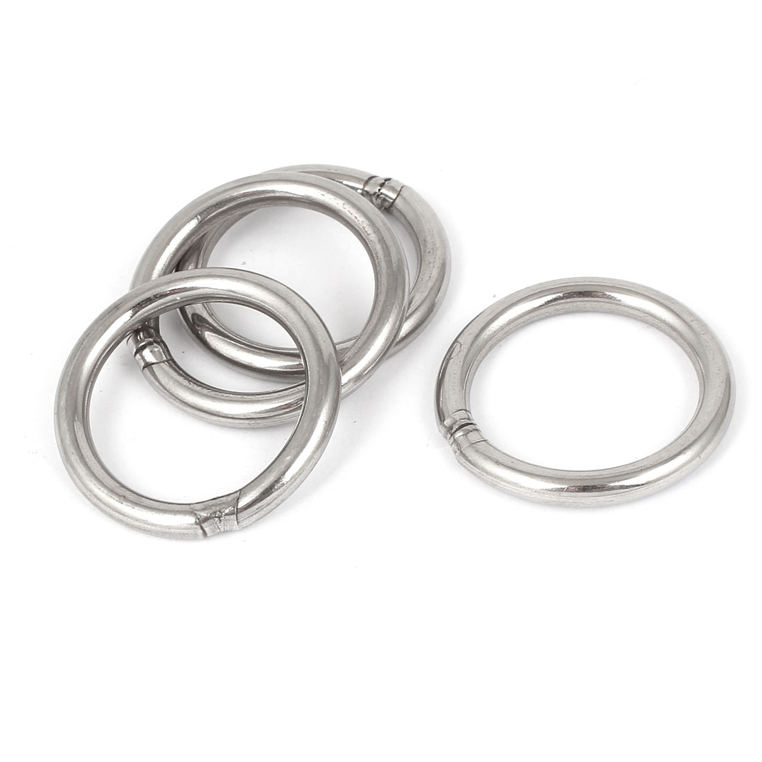 M5 x 40mm 201 Stainless Steel Webbing Strapping Welded O Rings 4 Pcs