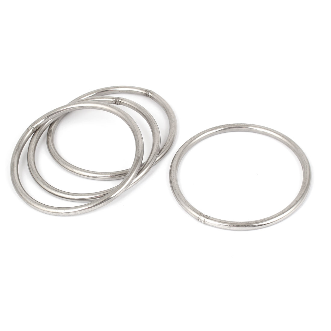 M6 x 100mm 201 Stainless Steel Strapping Welded Round O Rings 4 Pcs