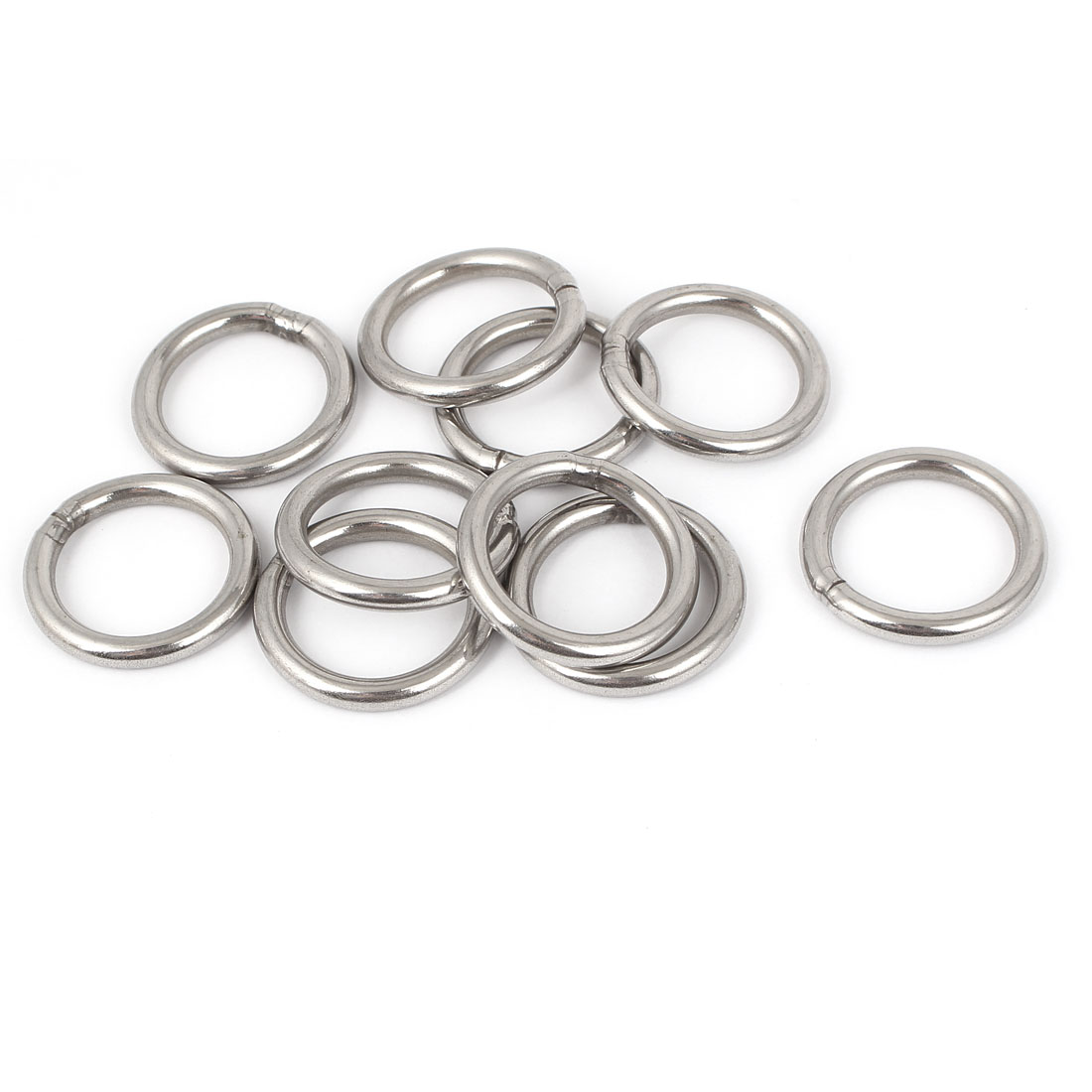 M4 x 30mm 201 Stainless Steel Webbing Strapping Welded Round O Rings 10 Pcs