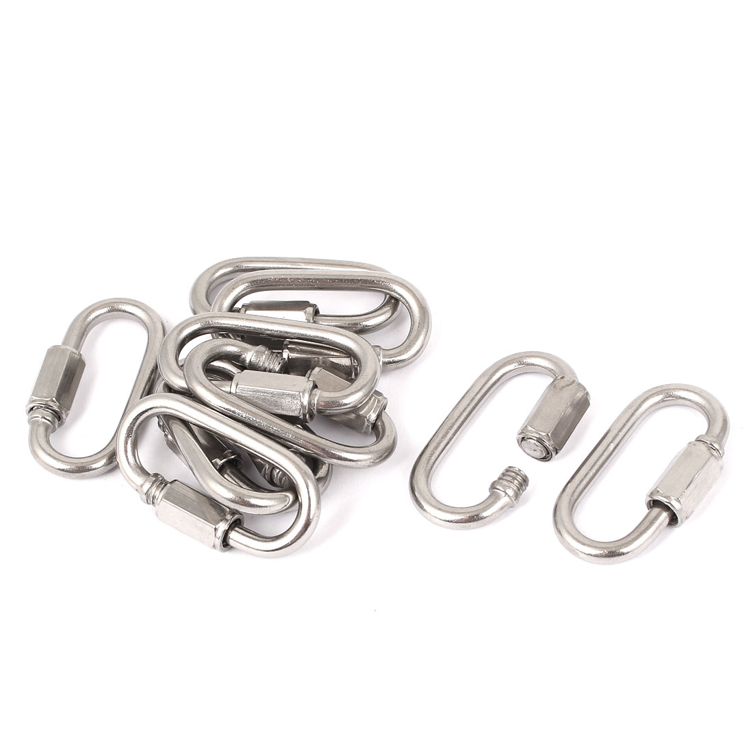 4mm Thickness Quick Links Carabiners Key Ring Silver Tone 10 Pcs