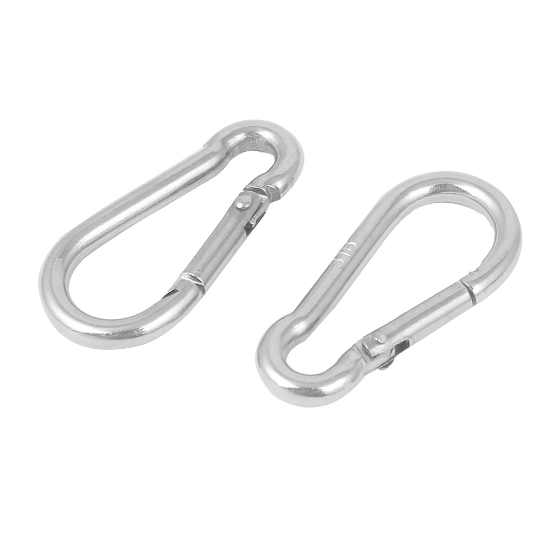 304 Stainless Steel Spring Snap Hook Carabiner Silver Tone 2PCS