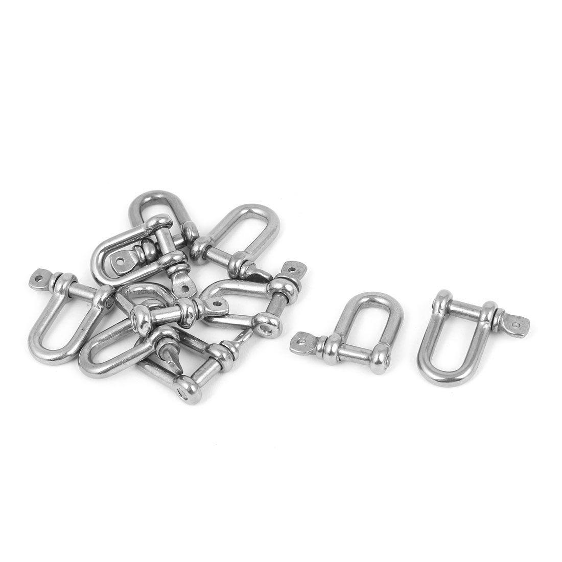 10PCS Stainless Steel Wire Rope Fastener Bow D Shackles 4mm Thread