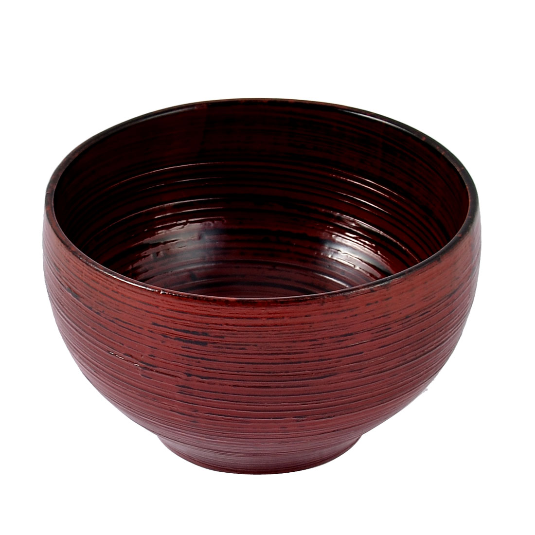 Home Kitchen Wooden Dinging Tool Soup Rice Bowl Red Black 11cm x 6.5cm