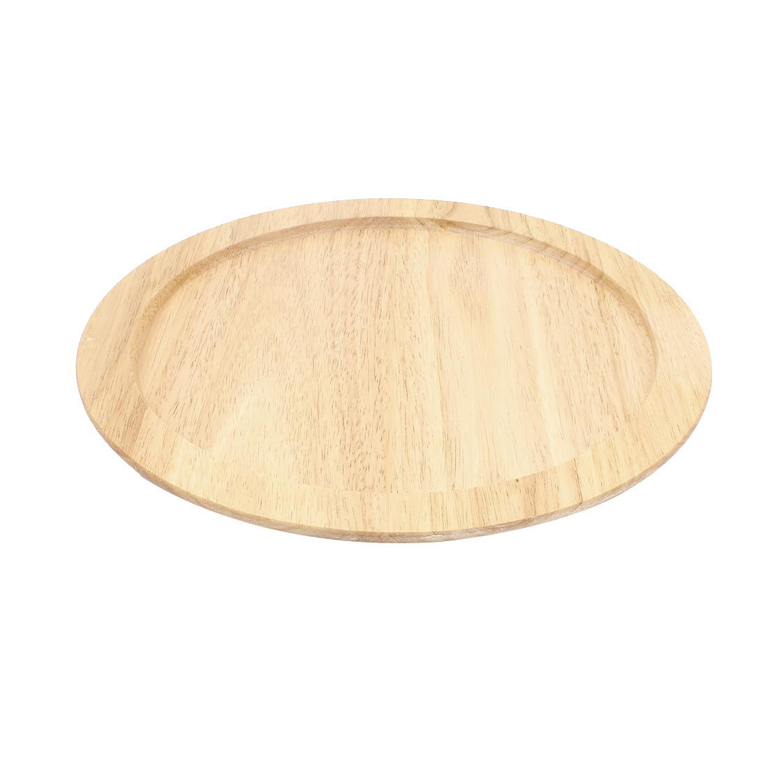 Restaurant Kitchen Wood Round Shaped Tea Serving Tray Platter 30 x 2cm