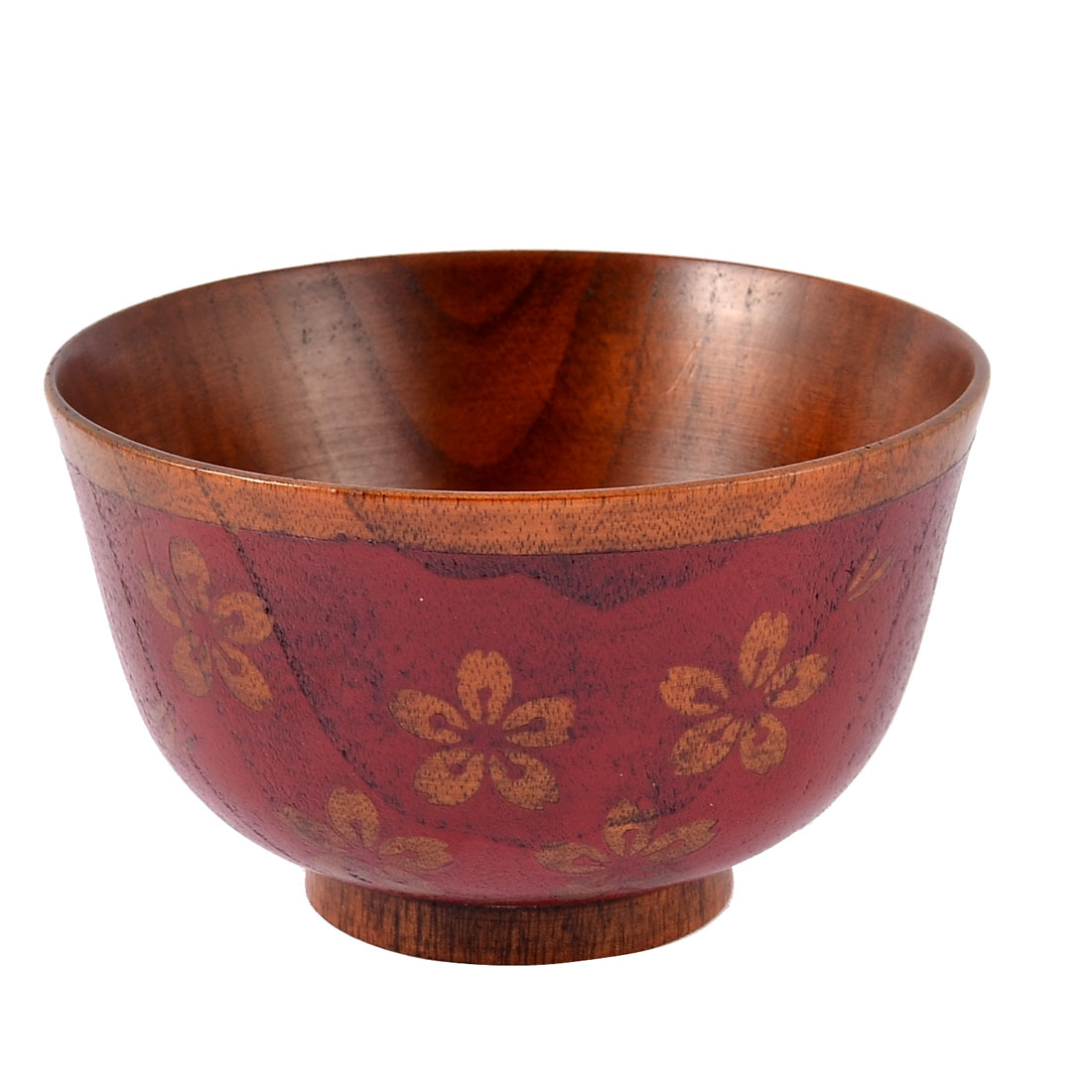 Home Kitchen Wooden Cherry Blossom Pattern Japan Style Soup Rice Bowl Red