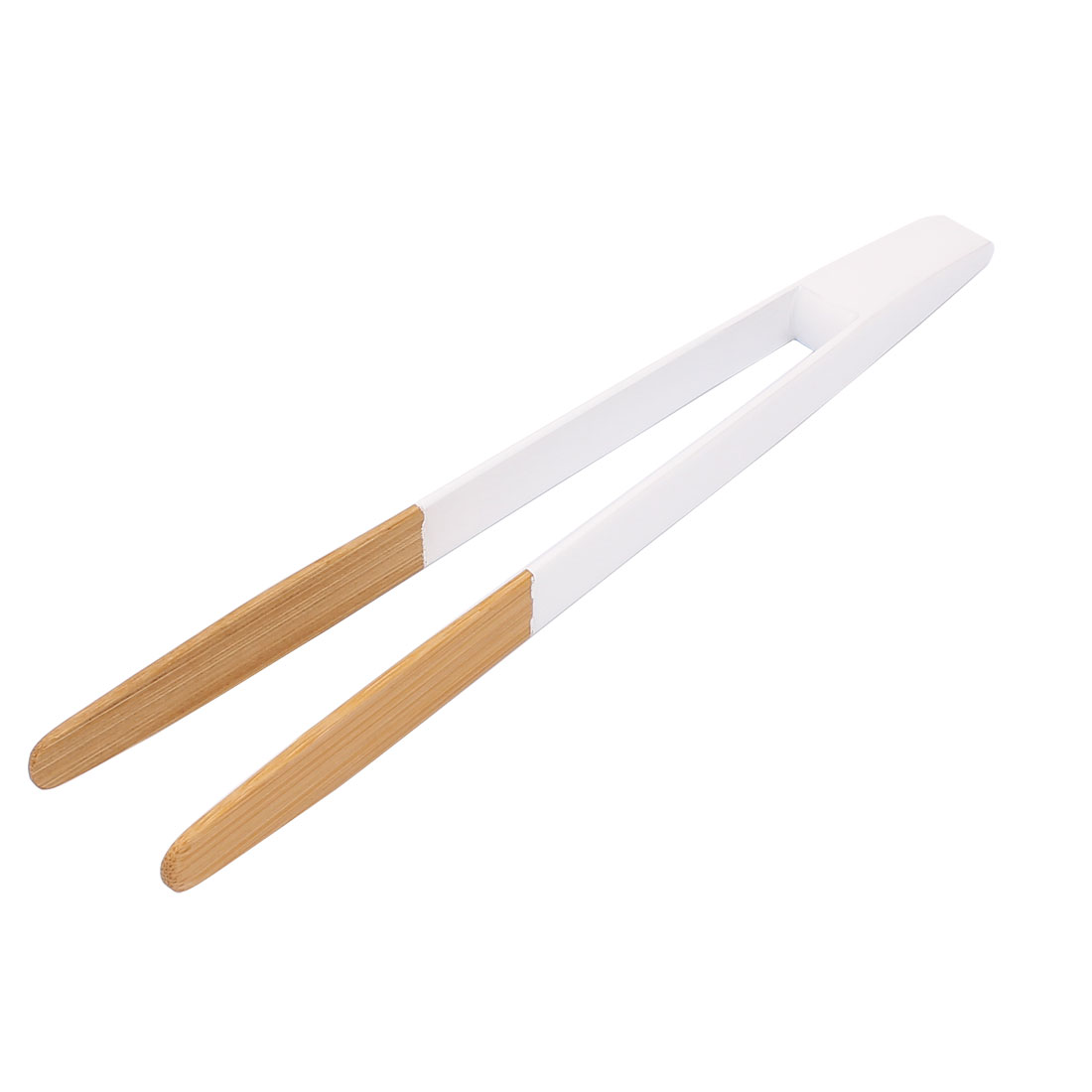 Home Restaurant Natural Bamboo Cake Tea Tong Tweezer Clamp White Beige