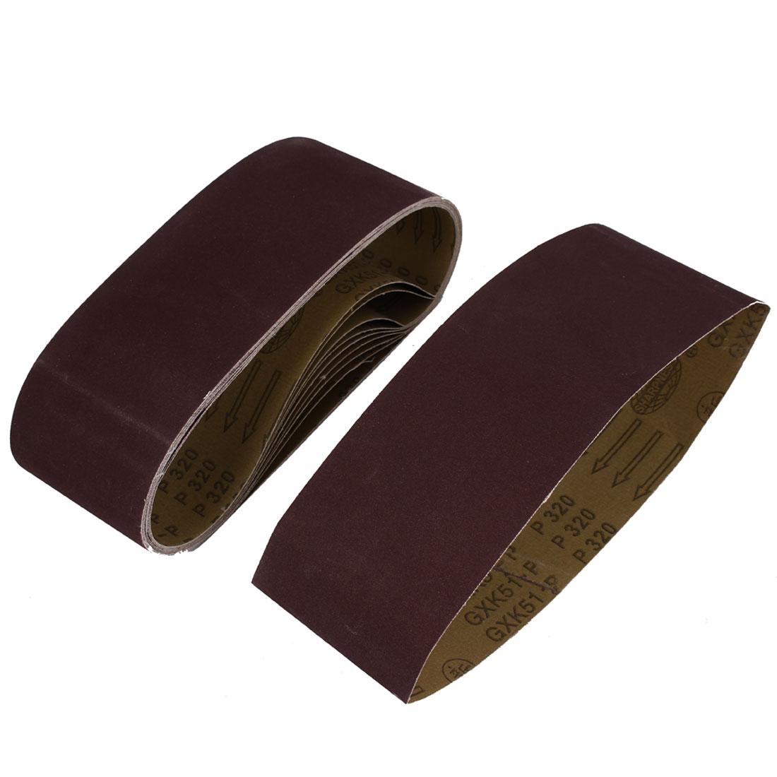 Polishing Machine Woodworking 610x100mm 320 Grit Sanding Abrasive Belt 10pcs