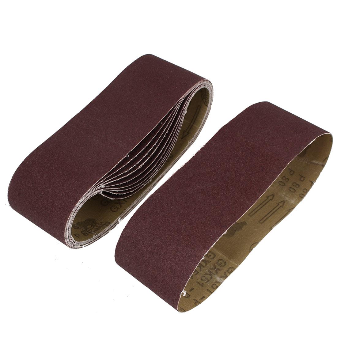 Woodworking 533mmx75mm 80 Grit Abrasive Sanding Belt Sandpaper 10pcs