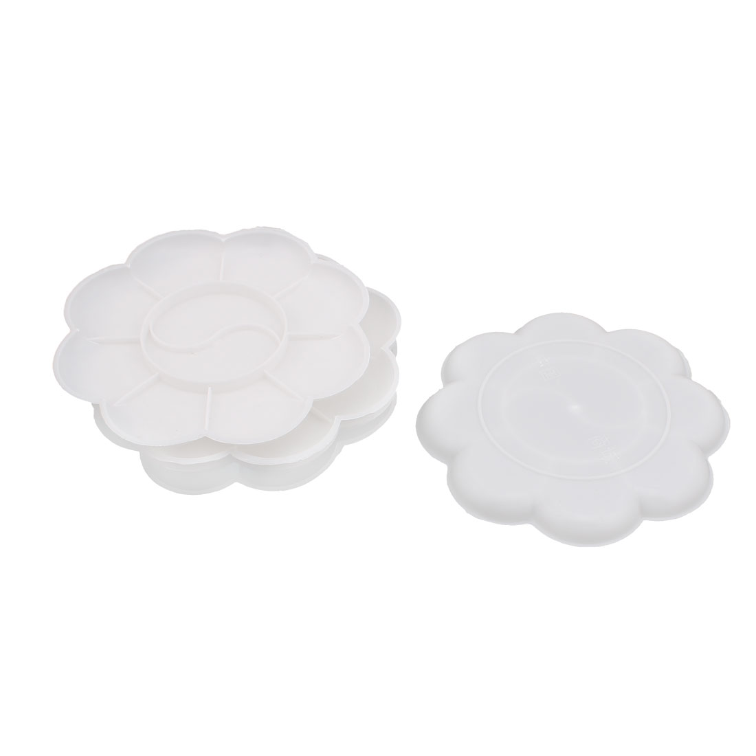 Plastic 10 Well Artist Paint Painting Mixing Palette Plate Disk Trays 5pcs White